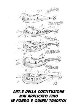 La Repubblica, si diceva, per i Costituenti è una e indivisibile: affermazione non da poco vista dalla prospettiva del 1948 in Italia! C'erano i territori con prevalenza di etnie e lingue diverse e c'era il separatismo siciliano: forze centrifughe non da poco… Che fare allora? Imporre forse con la violenza l'unità? In fondo molti Paesi che si dicono democrazie l'hanno fatto, per la verità con poco successo e creandosi da soli problemi intricatissimi da risolvere. Ma i nostri Costituenti erano più saggi di così e più sapienti ancora erano resi dalle recenti esperienze. E trovarono la soluzione: creare 5 regioni a Statuto Speciale, preservando con l'unità attraverso la pace sociale. Ma ora sono passati settant'anni: questa disparità di trattamento tra regioni e regioni è ancora attuale? A Francesco Basile non pare, anche visti gli ultimi fatti di cronaca.