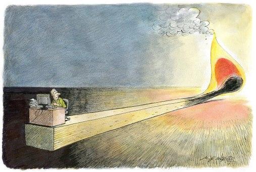 Niente illustra meglio la situazione del lavoratore oggi di questo splendido disegno di Marco De Angelis.