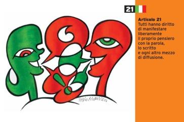 Pablo Echaurren Art.21_cartoline per la costituzione