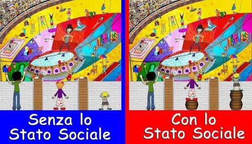 """""""Tutti i cittadini hanno pari dignità sociali e sono uguali davanti alla legge"""" così recita il primo comma dell'articolo 3 e Rino Schettini trova un immagine molto fantasiosa per raffiguare questo principio."""