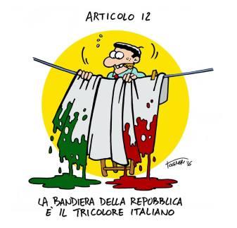 Simone Togneri, la bandiera, la vede così: scolorata per le speranze deluse ed i diritti negati.